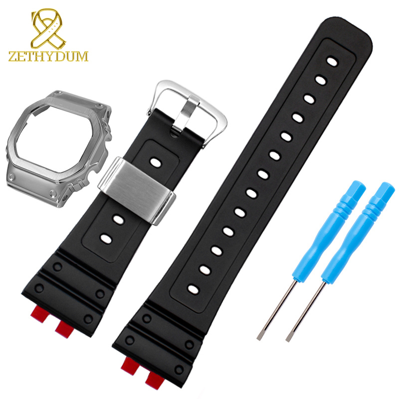 Silicone Rubber Watchband And Stainless Steel Case For G Shock Strap GMW-B5000-1GMW-B5000D Watch Band Transparent Bezel
