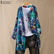 2020 ZANZEA Vintage Tops Women's Printed Blouse Casual Button Cardigans Female Long Sleeve Shirts Plus Size Tunic S-5XL Tops