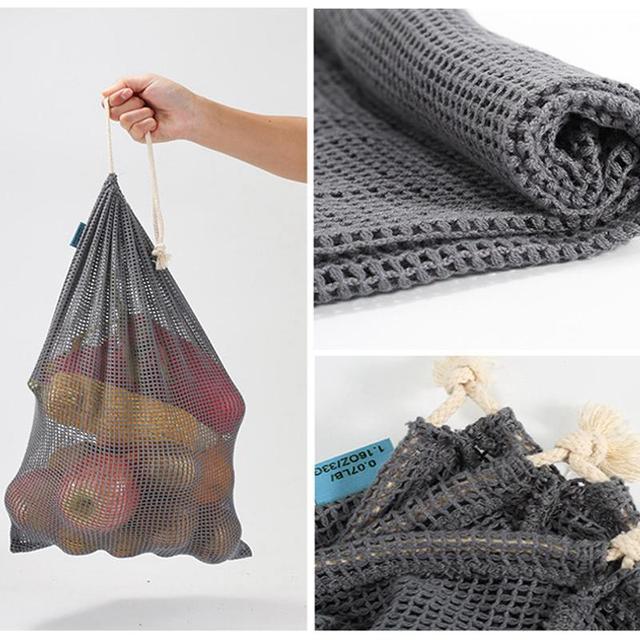9pcs Reusable Produce Bags Cotton Mesh Produce Shopping Bag Set Organic Eco Friendly Washable Storage Bags for Fruit Vegetables 3