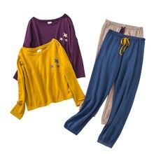 Ropa de dormir de manga larga para mujer, conjunto de pijamas de algodón con estampado de estrellas para Otoño e Invierno