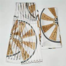 قماش حرير ساتان بطراز Gahna بتخفيض كبير مع تصميم شمع أفريقي بشريط الأورجانزا! J52501