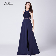 New Fashion Navy Blue Women Dress A-Line Halter Side Split Hollow Out Lace Maxi Dress Elegant Ladies Party Dress Robe Femme 2019