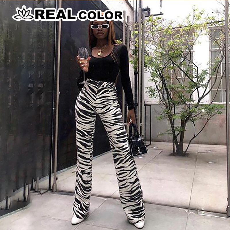 Fashion Zebra Animal Print   Wide     Leg     Pants   Women Fall Winter Casual Trousers Sexy High Waist Bell Bottom   Pants   High Quality SA-81