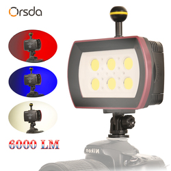 Orsda Gopro accessories Waterproof Led Light Underwater Diving video Diving Photography Lamp Flash Fill Light For  7500k 6000lm Up To 40m/130ft IPX8 Diving Ball Head