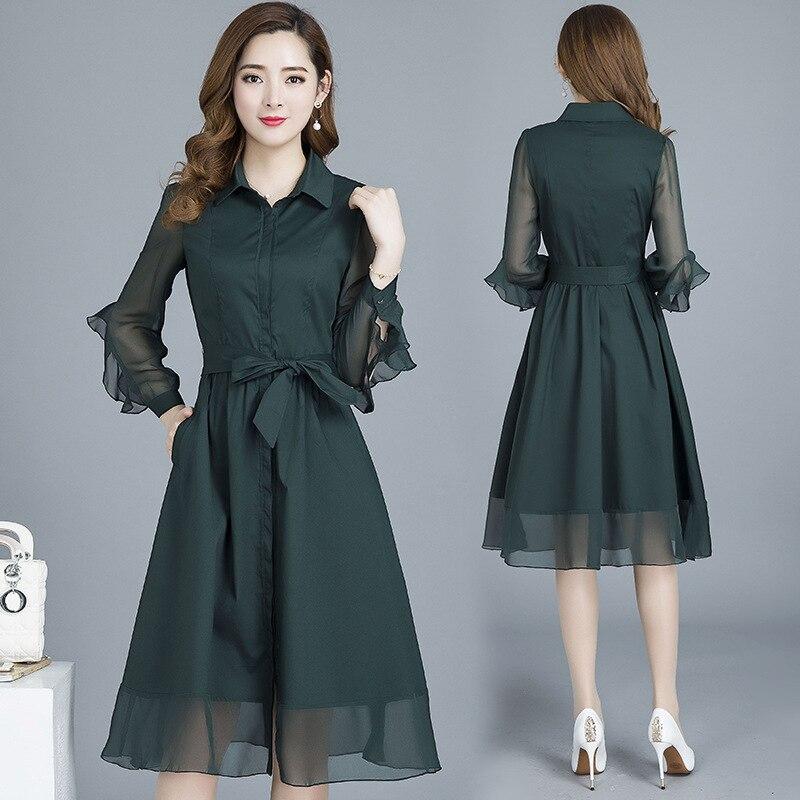 feminina temperamento longo sleeved lace up vestidos l851 03