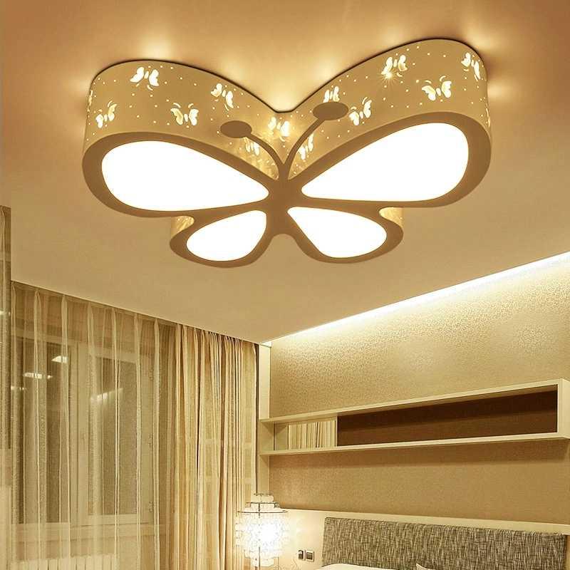 Nowoczesne dzieci sypialnia kolorowe motyl hollow żelaza lampa sufitowa LED home deco jadalnia akrylowa dziewczynka światło sufitowe