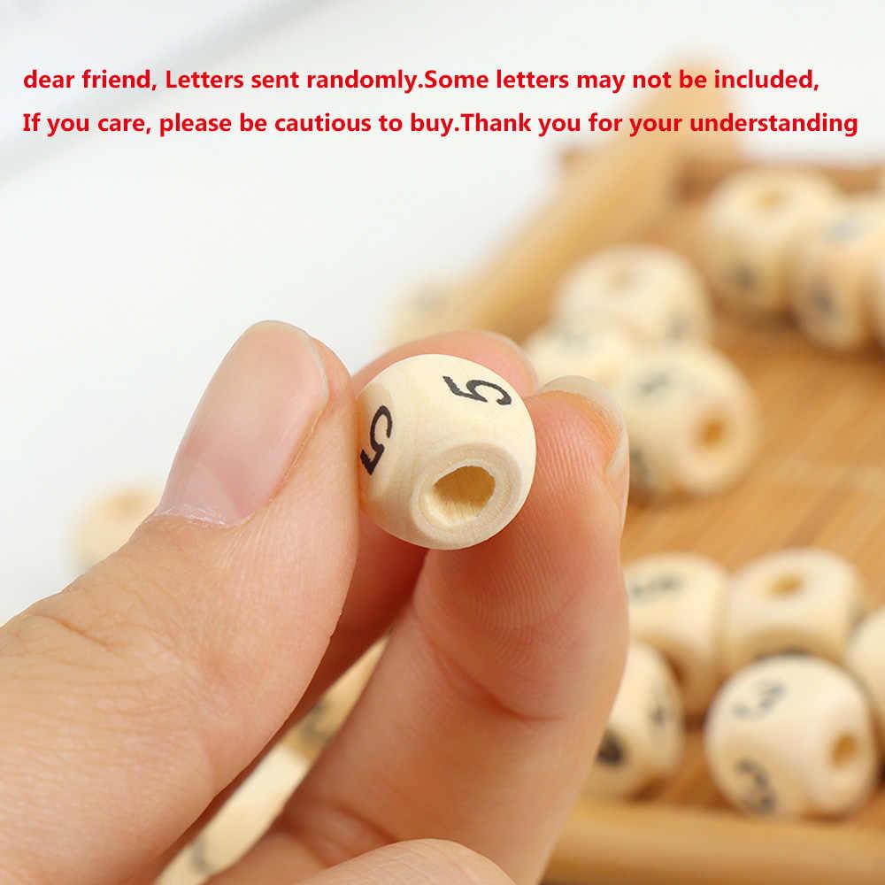 100 unids/lote cuadrado letras del alfabeto en madera número DIY cuentas bebé mordedor suave para hacer joyas Accesorios