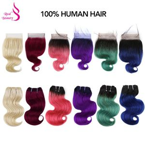 Real Beauty 50g/pc Ombre Blonde Brazilian Body Wave Remy Human Hair With Closure 613/Purple/Blue/Pink/Green/ Short Bob Style