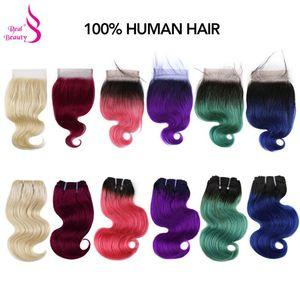 Прямые бразильские волосы Омбре, 50 г/шт., с закрытием, 613/фиолетовый/синий/розовый/зеленый/синий