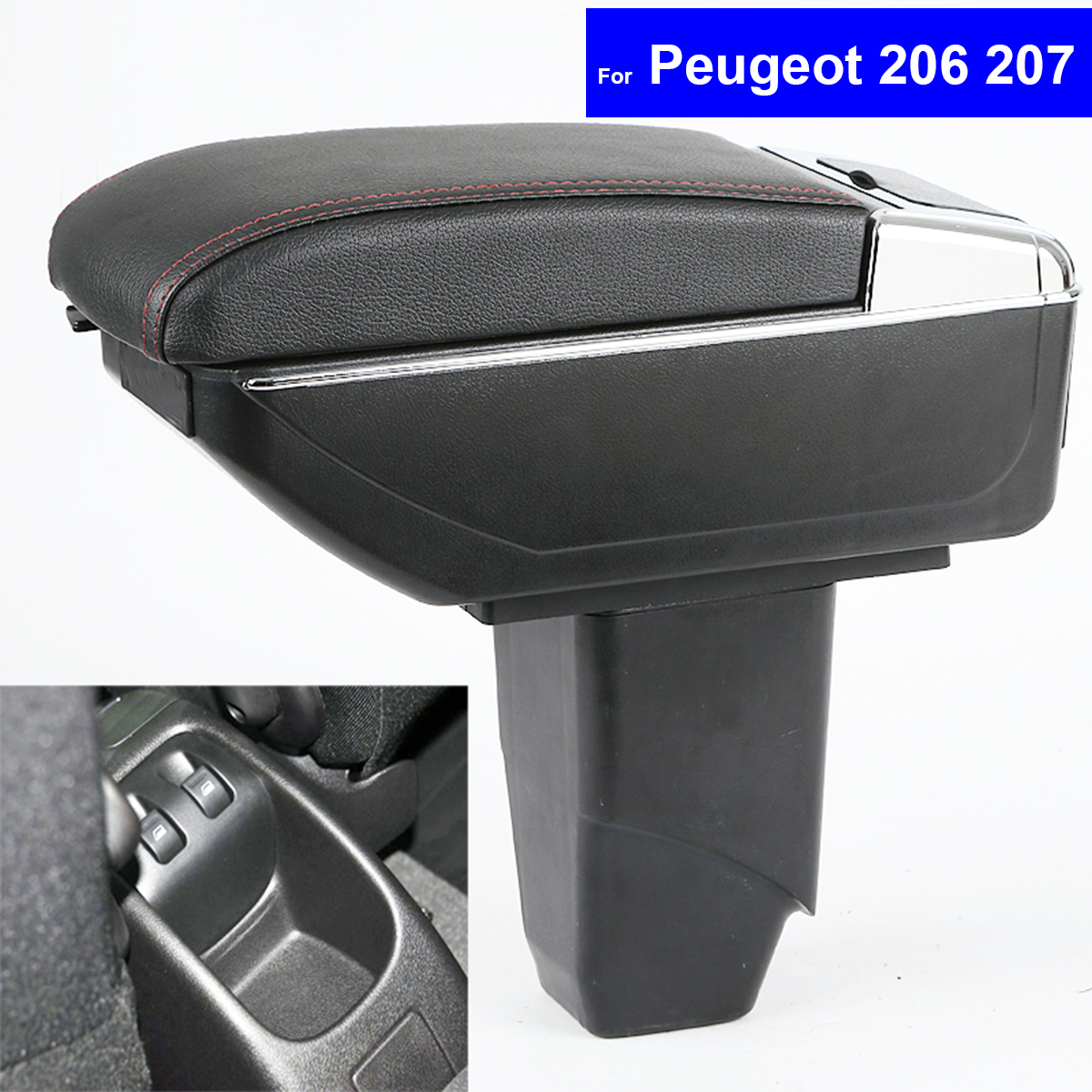Leather Center Console <font><b>Armrest</b></font> Storage Box for <font><b>Peugeot</b></font> <font><b>206</b></font> 2005~2008 / <font><b>Peugeot</b></font> 207 2008 2009 2010 ~2013 <font><b>Armrests</b></font> Free Shipping image