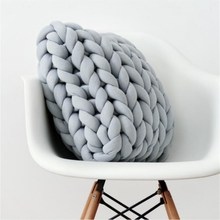 Cushions Pillow Sofa-Bed Room-Decoration Knitting Chunky-Wool Handmade Nordic Braided