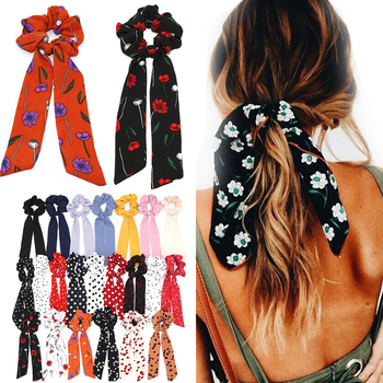 Boho Style Floral Printed Ribbon Bow Scrunchies Elastic Hair Bands Scarf Hair Rope Ties For Women Girls Dots Hair Accessories