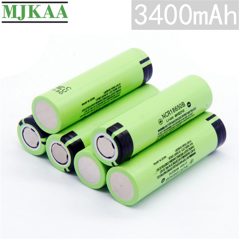 MJKAA 10PCS 18650 3400mAh 3.7V Lithium Rechargeable Battery NCR18650B <font><b>3.7</b></font> <font><b>V</b></font> <font><b>100</b></font>% Original Batteries for Flashlight Bateria image
