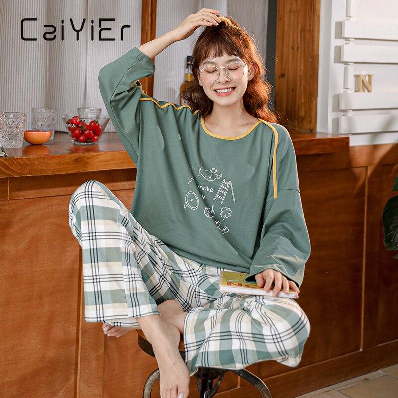 Женский хлопковый пижамный комплект CAIYIER, комплект из топа с длинным рукавом и длинных брюк, домашняя одежда для отдыха, Осень-зима
