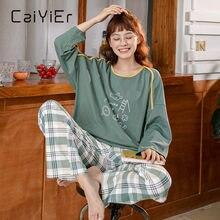 Женский хлопковый пижамный комплект caiyier из топа с длинным