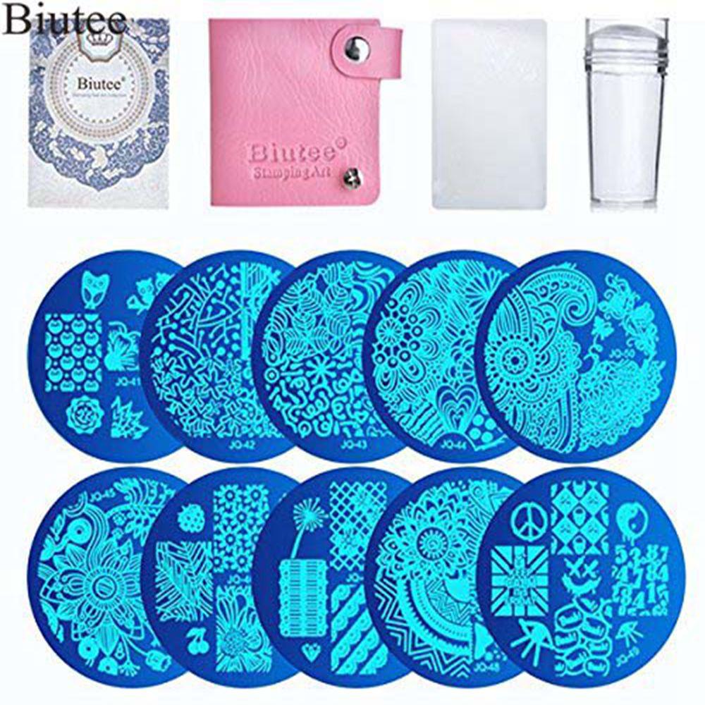 Biutee 10pcs  Stamp Stamping Plates Nail 1 Stamper Scraper Art Image Manicure Template Tools Stampers