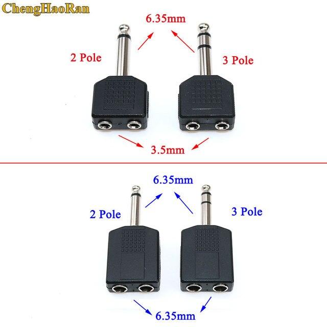 "ChengHaoRan 1/4 ""2 polos Mono 3 polos Audio estéreo Jack adaptador macho a hembra 3,5mm/6,35mm Dual Jack auriculares micrófono Y divisor convertidor"
