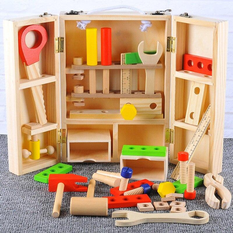 Bébé en bois enfants poignée boîte à outils jeux d'apprentissage jouets éducatifs vis assemblage jardin jouets pour enfants garçon - 3