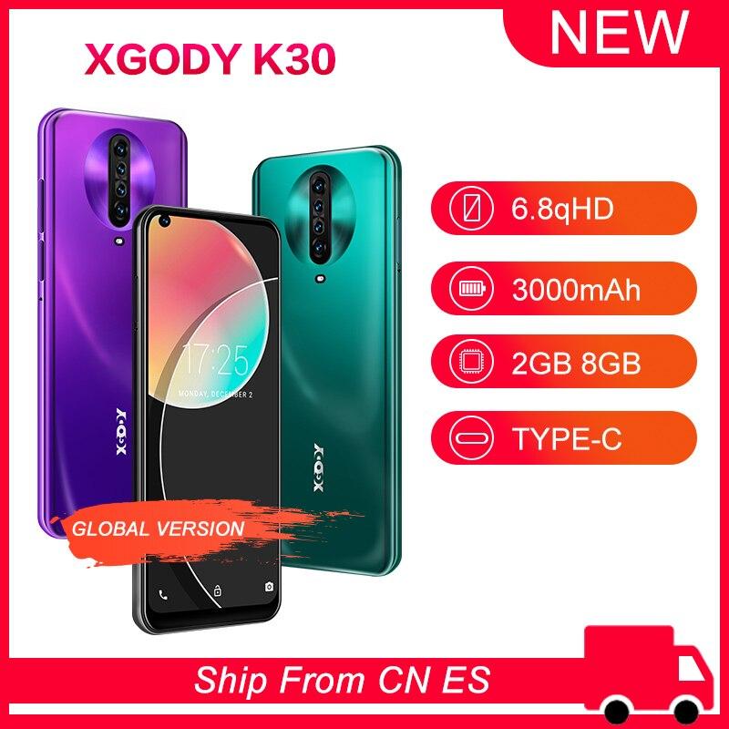 XGODY K30 смартфон с 5,5-дюймовым дисплеем, четырёхъядерным процессором MTK6580, ОЗУ 1 ГБ, ПЗУ 8 ГБ, Android 10, 6,8 мАч