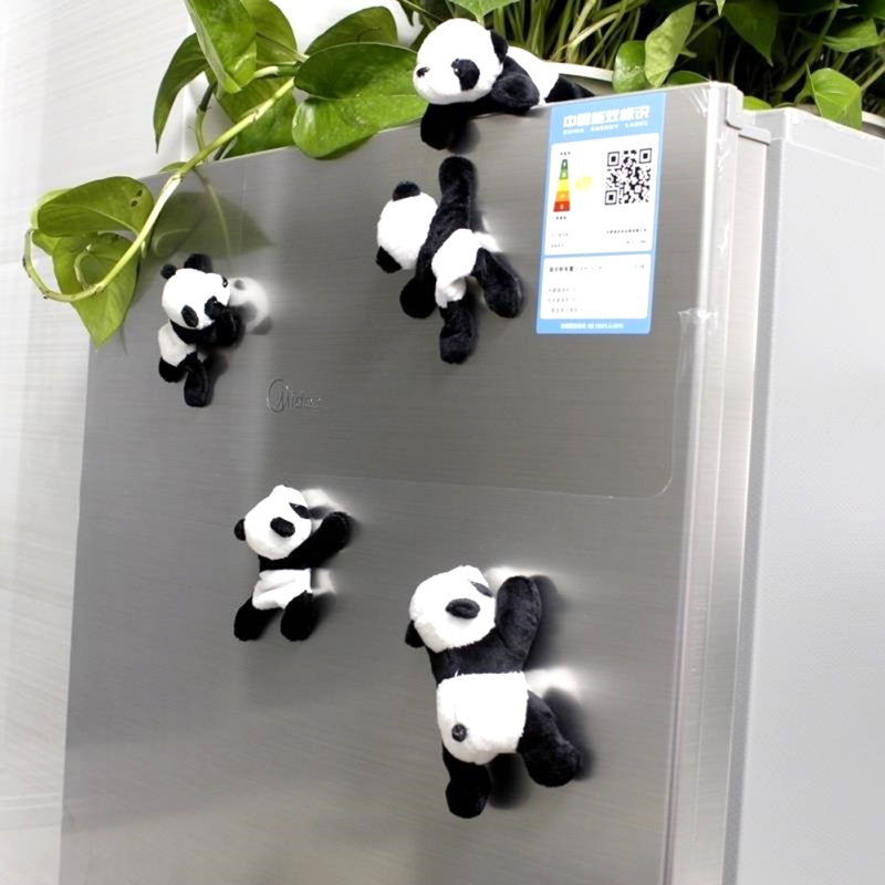 Cute Soft Plush Panda Refrigerator Magnet Stickers Home Kitchen Tool Decor Gift
