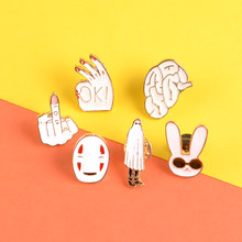 Spirited Away enamel pin Faceless man brooches Erect middle finger Rabbit with sunglasses Lapel pin badge Shirt bag jewelry gift(China)