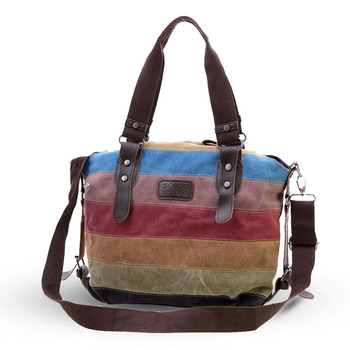 Womens Handbags Rainbow Striped Canvas Bag Shoulder Bags Casual Tote Messenger Retro Crossbody сумка