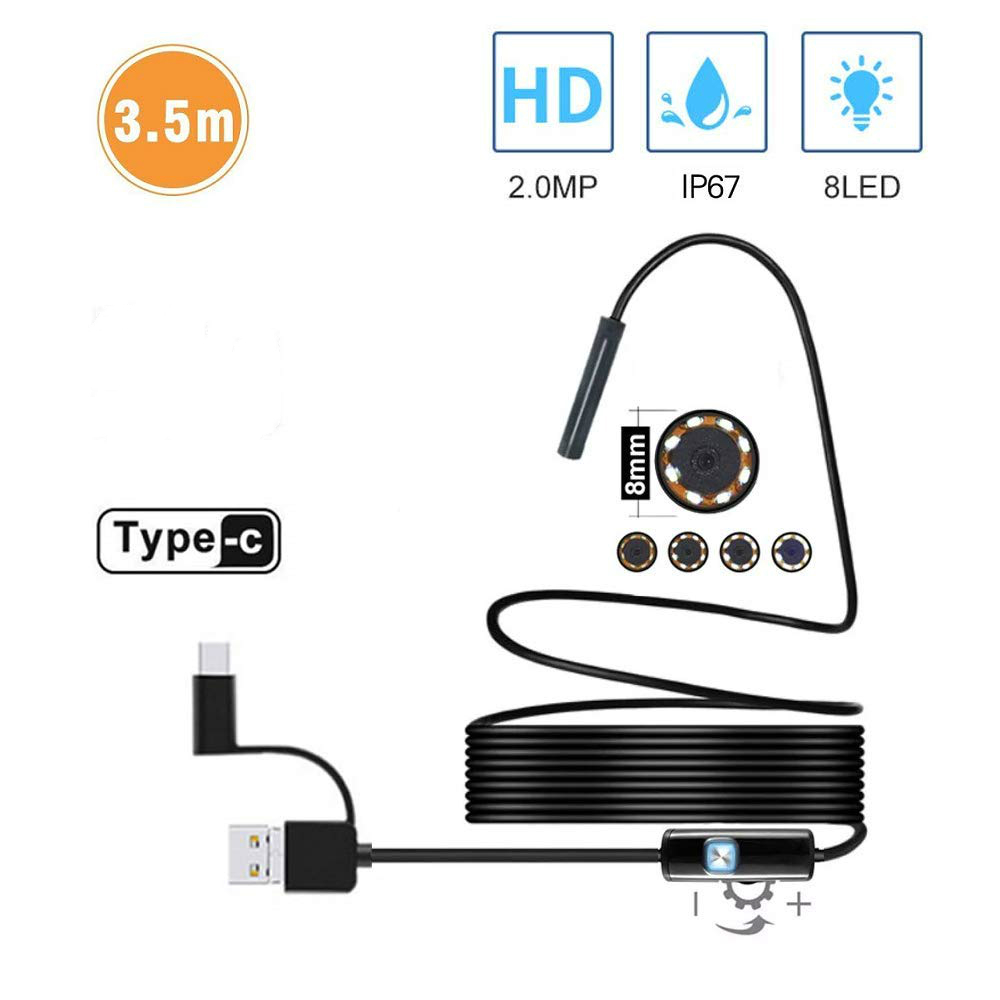 2.0 MP HD Camera 1200P 8mm 1M 2M 5M Semi-Rigid USB Endoscope Type C Borescope Inspection Camera For Android Smartphone Windows