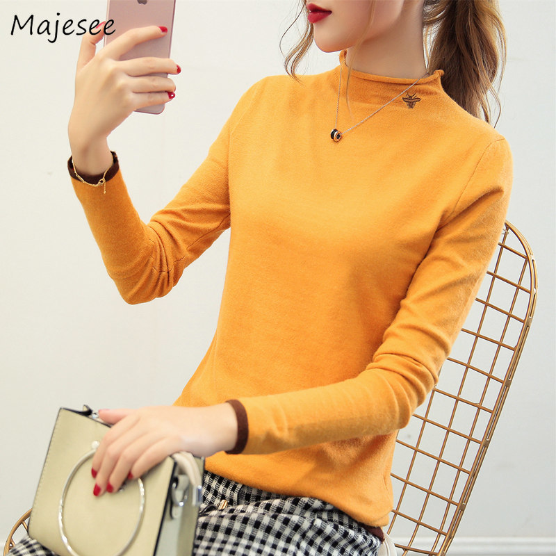 Pullovers Women Autumn Winter Knitted Cute Embroidery Kawaii All-match Chic Korean Style Slim Warm Simple Student Womens Sweater
