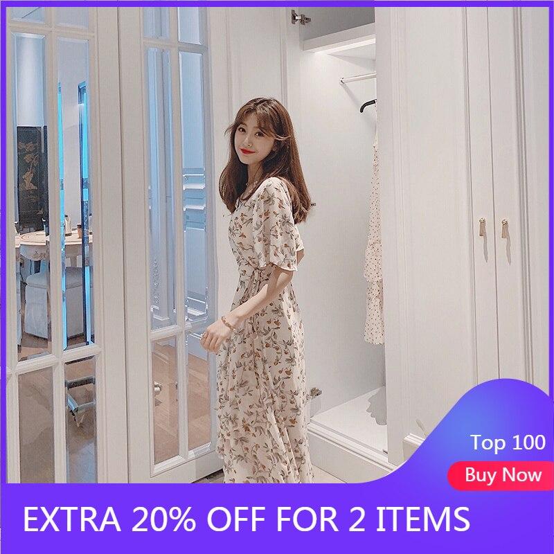 MISHOW 2019 Summer Chiffon Flower Print Dress Women Lady Vneck Short Sleeve High Waist With Belt Ruffle Mid-calf Dress MX19B1260