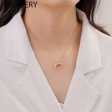 Anenjery 925 Sterling Zilveren Crescent Ketting Voor Vrouwen Sleutelbeen Keten Maan Eenvoudige Sieraden Geschenken S-N760