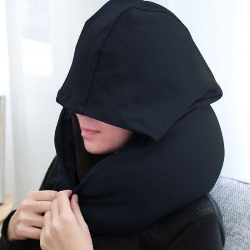 Travel Hooded Pillow Cushion Car Office Airplane Head Rest Neck Support U-Shaped Eyemask Neck Pillow For Sleep image