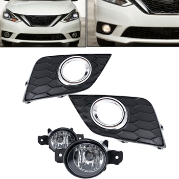 Bumper Fog Lights+Switch+Bulbs+Wiring Harness for Nissan Sylphy Sentra 2016 2017