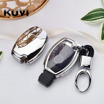 PC + TPU etui na klucze nakładka na klucz etui na klucze powłoka ochronna uchwyt pasuje do Mercedes Benz W204 W205 W212 C E S GLA skórzany na klucze pokrywy skrzynka tanie i dobre opinie Kuvi CN (pochodzenie)