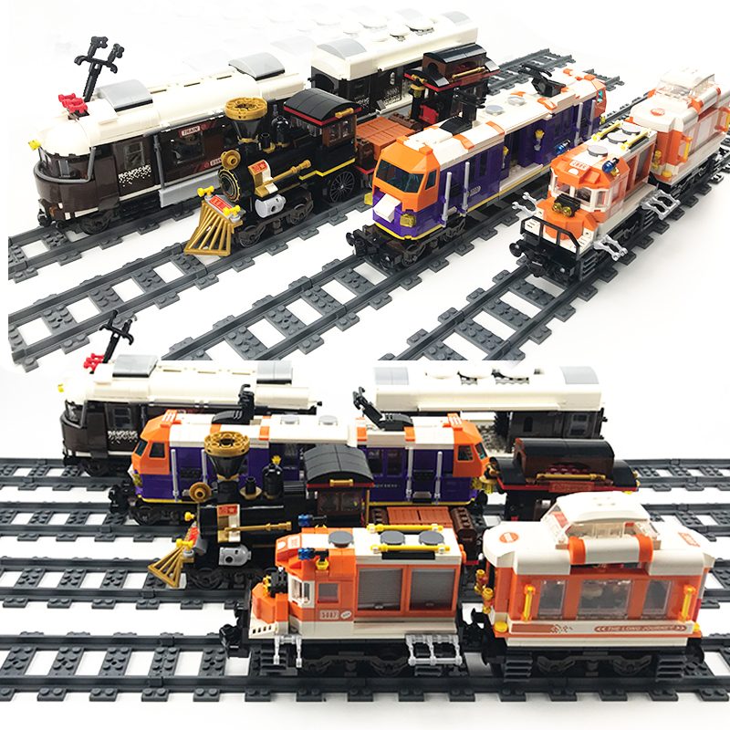 NEW City Trains Train Station Tracks Rail Building Blocks Kits Legoes DIY Bricks Educational Toys For Children Christmas Gifts