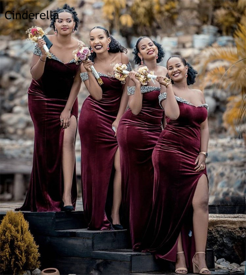 Cinderella African Shining Crystal Burgundy Off The Shoulder Mermaid   Bridesmaid     Dresses   Zipper Wedding Party   Bridesmaid     Dresses