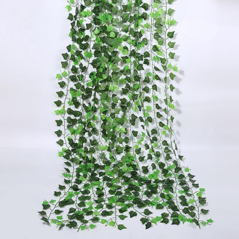 210 см искусственных листьев плюща висит лист растения-гирлянды зеленые листья виноградной лозы «сделай сам» для дома Свадебная вечеринка в...
