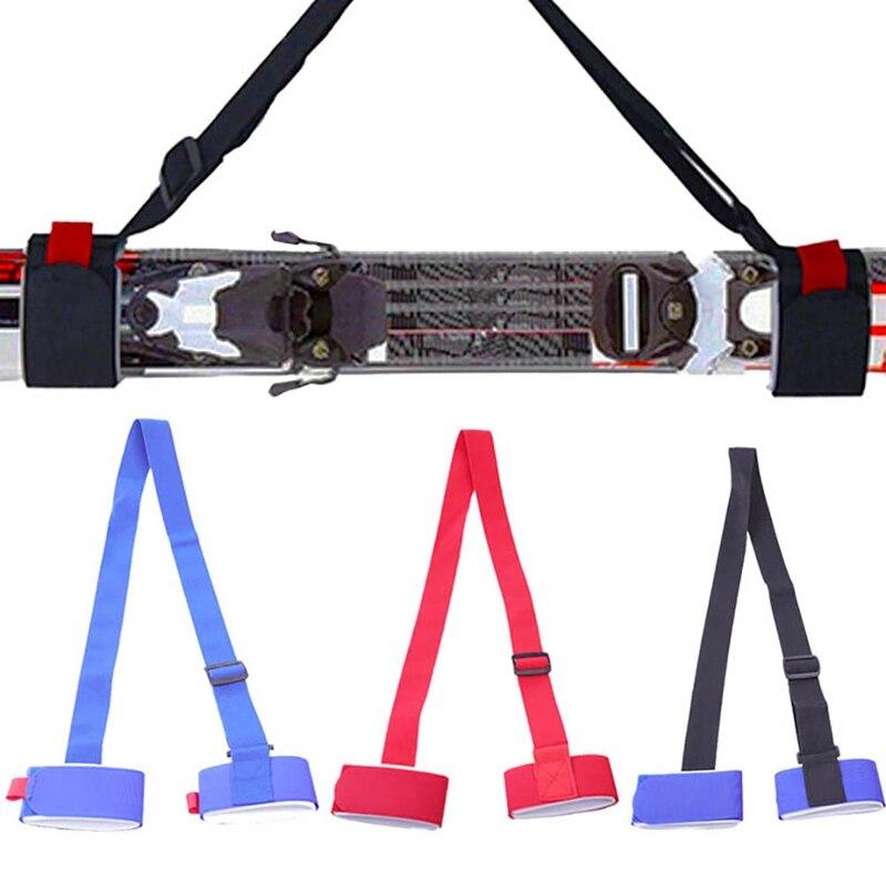 1Pcs Adjustable Skiing Pole Shoulder Hand Carrier Lash Handle Strap Porter Hook Loop Protecting Black Nylon Ski Handle Strap