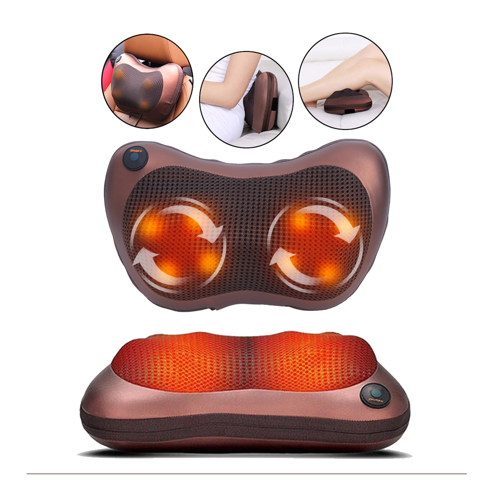 Electric Neck Massager Shoulder Back Body Massage Pillow Shiatsu Spa Home/Car Relaxation Pillow With LED Light Heat