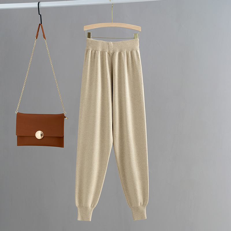 H242dc8a8ed774503a4a019f54064f2770 - GIGOGOU Knitted High Waist Women Crop Harem Trousers Solid Peg Leg Fly Pants Casual Drawstring Winter Warm Workwear Carrot Pants