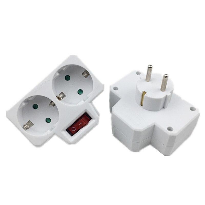Adaptador de tomada padrão ue para viagem, plugue de conversão tipo europeu de 1 para 2 orifícios com interruptor