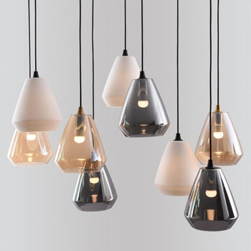 Nordic LED Iron Art Glass Pendant Lights Lighting Postmodern Cafe Bar Living Room Lamp Bedroom Bedside Decoration Light Fixtures