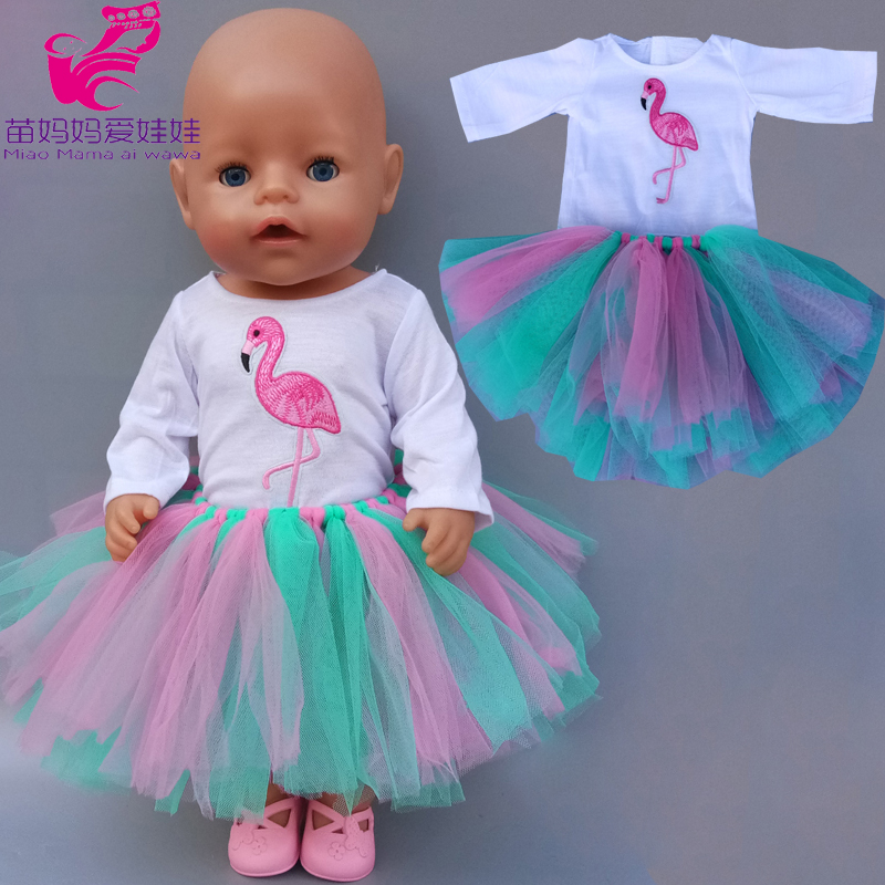 18 Inch Girl Tutu Dress Flamingo Rainbow Color Skirt 43 Cm Baby Doll Clothes Shirt Dress Children Gift