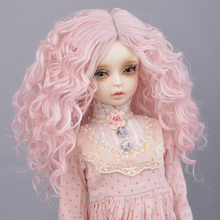 Muziwig  Silver gray Bob long Straight and curly pink Bangs 1/3 1/4 BJD Wigs High Temperature Fiber for Dolls hair free shipping muziwig new style bjd sd dolls wig hair heat resistant wire short curly wigs for 1 3 1 4 dolls accessories