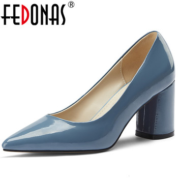 FEDONAS Classic Design Women Point Toe Party Wedding Pumps Spring Summer Thick Heels Fashion Shoes Patent Leather Shoes Woman