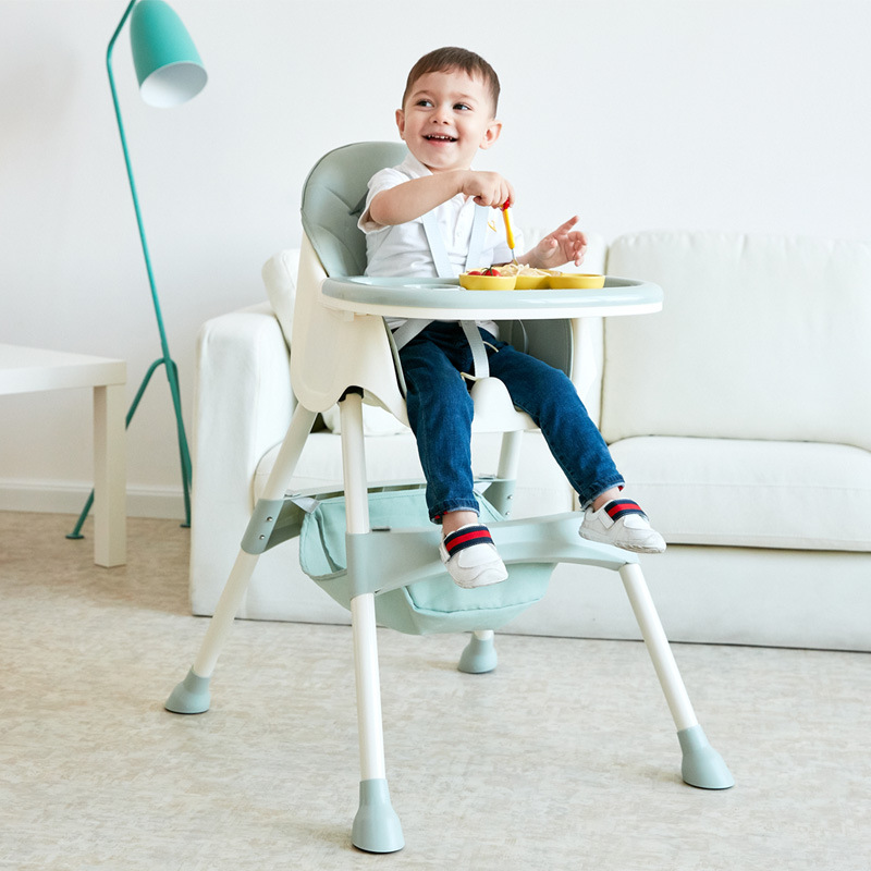 Baby High Feeding Chair Portable Kids Table Foldable Dining Chair Adjustable Height Multifunctional Food Chair With Cushion