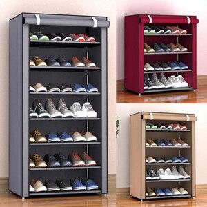 Image 5 - 4/5/7 ชั้นกันฝุ่นชั้นวางรองเท้าขนาดใหญ่ผ้าไม่ทอรองเท้ายืนOrganizerรองเท้าเก็บรองเท้าRackชั้นวางของตู้