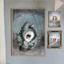 цена Scandinavia Gothic Rabbit Girl Gentleman Boys Home Frameless Drawings Wall Pictures Canvas Painting Decorative Art Posters онлайн в 2017 году