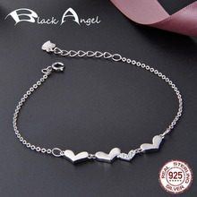 цена на 100% 925 Sterling Silver CZ Lucky Love Heart Link Chain Bracelets for Women Authentic 925 Silver Fine Jewelry Gift