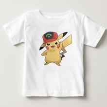 Kids T-shirt  Pikachu Children's T Shirt Pure Cotton Short Sleeve Crew Pokemon Neck Tshirt Costume Boys Girls 2020 T-shirt Baby 3d flame bird print crew neck long sleeve t shirt