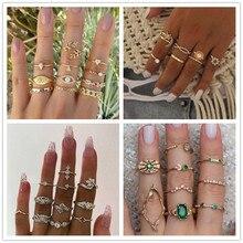 Vintage oro estrellas Luna anillo conjunto de mujeres colgante bohemio anillo de las mujeres del Partido de moda anillo set